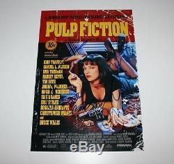 PULP FICTION CAST SIGNED MOVIE POSTER x6 TRAVOLTA TARANTINO BECKETT COA BAS