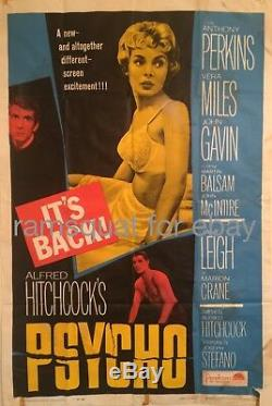 Psycho original movie poster Alfred Hitchcock Anthony Perkins Janet Leigh R65