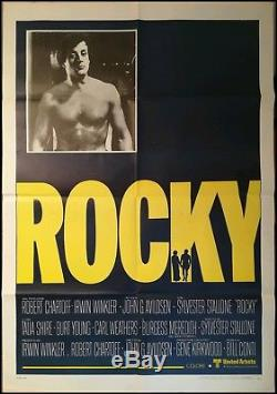 ROCKY 1976 Original Movie Poster 39x55 2Sh RARE Stallone Vintage