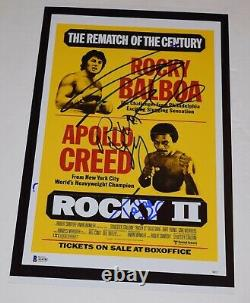 ROCKY II 2 Cast Signed 11x17 Poster Sylvester Stallone Shire Young BECKETT COA