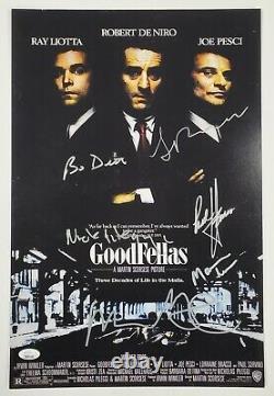 Robert DeNiro Pileggi + Cast Signed Goodfellas 12x18 Poster 6 Autographs JSA