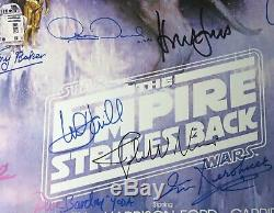 STAR WARS Cast Signed Autograph Poster by 25 Harrison Ford, Mark Hamill, Fisher+