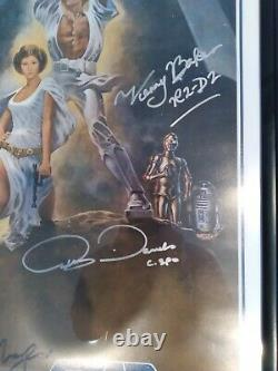 STAR WARS FULL Cast SIGNED including George Lucas Autograph Photo Poster withCOA