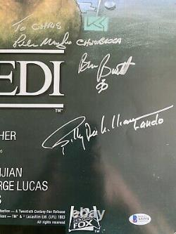 STAR WARS Return of the Jedi Movie Poster Signed by 12 Fisher Beckett BAS COA