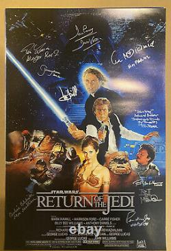 STAR WARS Return of the Jedi movie poster signed by 10. Mark Hamill, Mayhew