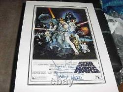 STAR WARS signed auto MOVIE poster by 8 FRAMED MARK HAMILLHARRISON FORDFISHER