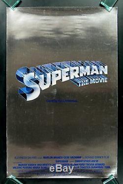 SUPERMAN CineMasterpieces CHRISTMAS ADVANCE SILVER MYLAR MOVIE POSTER 1978