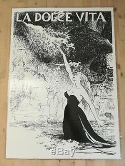 Set 5 Original Litho 20x27 Art By Milo Manara Movie Poster Fellini Dolce Vita