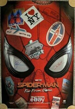 Spider-Man Far From Home Theatrical Poster signed by Holland & Gyllenhaal JSA
