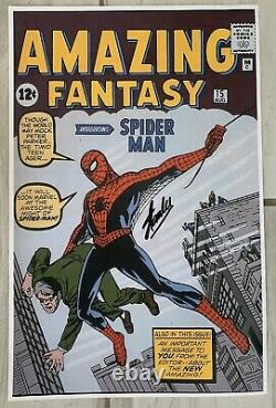 Stan Lee Signed Amazing Fantasy Spider Man #1 11x17 Poster Certificate HOLO