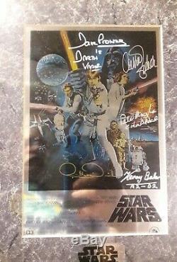 Star Wars IV Fisher, Baker, Mayhew, Daniels, Prowse Signed Chrome Poster JSA