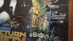 Star Wars ROTJ 24X36 poster cast signed by 15 Mayhew, Hamill, etc
