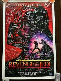 Star Wars Revenge of the Jedi Original Poster Signed by 50 Beckett BAS