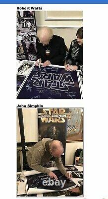 Star Wars Signed Poster Mark Hamill, Carrie Fisher, Harrison Ford Beautiful