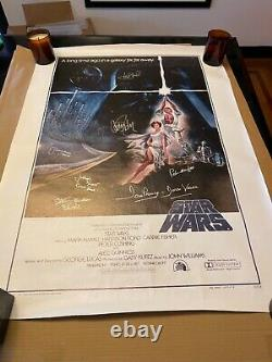 Star Wars Signed Poster Mark Hamill & cast signed BEAUTIFUL with BECKETT LETTER