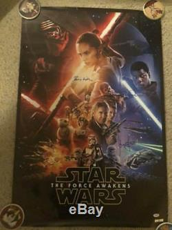 Star Wars The Force Awakens Cast Signed Autograph Movie Poster Carrie Fisher Opx