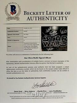 Star Wars cast signed album h. Ford carrie fisher john williams + not poster bas