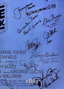 Star Wars cast signed poster carrie fisher mark hamill kenny baker esb style 2