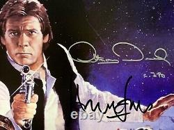 Star Wars rotj cast signed movie poster harrison ford carrie fisher mark hamill