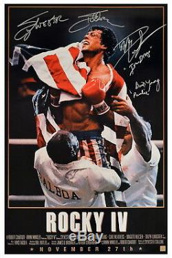 Sylvester Stallone, Lundgren & Young Autographed ROCKY IV 24x36 Poster ASI Proof