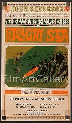 THE ANGRY SEA 1963 rare poster John Severson surf surfing doc. Filmartgallery