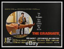 THE GRADUATE CineMasterpieces RARE UK BRITISH QUAD ORIGINAL MOVIE POSTER 1967