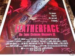 Texas Chainsaw Massacre 3 Cast Signed ORIGINAL 1-Sheet Horror Movie Poster + COA