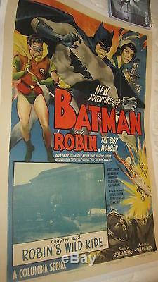 The New Adventures of Batman (1949) CH. 3 Serial One Sheet Linen