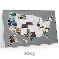 USA 50 States Photo Map, United States Travel Picture Collage Poster