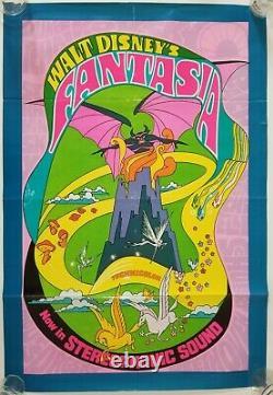 Vintage 1970 WALT DISNEY'S FANTASIA Re-Release PSYCHEDELIC One Sheet Orig Poster