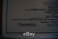 Vintage 1977 Original Star Wars Movie Poster One Sheet 27x41 #77/21 Style A