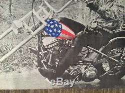Vintage Blacklight Poster Easy Rider American Chopper US Flag Motorcycle 1970's