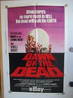 Vintage Dawn Of The Dead 1-sheet 27x41 Romero Zombie Sequel 1978 Rare! Vf