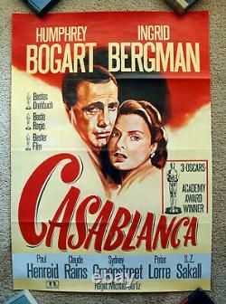 Vintage Original 1970s CASABLANCA Movie Poster Bogart Ingrid Bergman art film