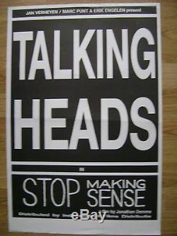 Vintage original 1984 TALKING HEADS movie poster Jonathan Demme