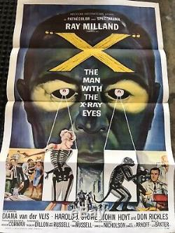 X THE MAN WITH THE X-RAY EYES 1963 Original Sci Fi Movie Poster Horror 1 Sheet